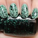 China Glaze Graffiti Glitter (Layered Over Topshop Gone Fishing)