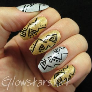 Read the blog post at http://glowstars.net/lacquer-obsession/2014/12/triangles-and-dots-on-silver-and-gold-holo/