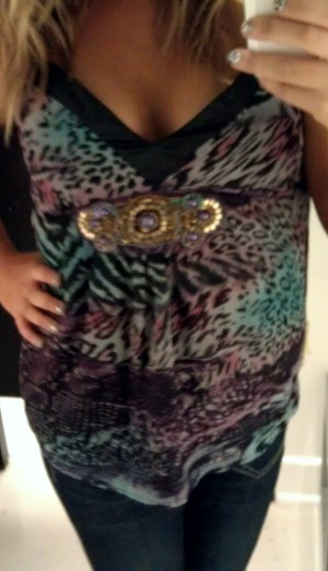 Purple, Blue, Pink Animal Print Top