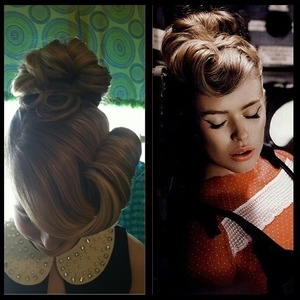 Inspired look for Pinterest- side rolled up bangs, bun, and 2 pin curls