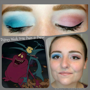 Day six in my Disney Week series, featuring Pain and Panic from Hercules. My right eye features Panic, with a forked wing representative of his horns. My left eye symbolizes Pain, with a pointy wing for his tail.