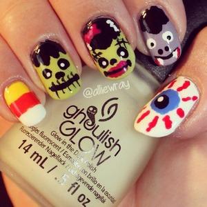 Candy Corn, Frankenstein, Bride of Frankenstein, Vampire, Eyeball Instagram: alliewray