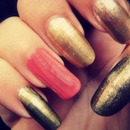 Gold and coral pink.