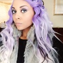 Purple hair mixed with white and blk