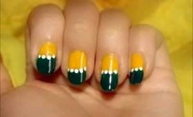 HalfMoons Nail Art Design with Dark Green and Bright Yellow Tutorial