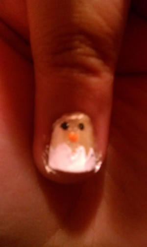 Nail design for easter its a baby chic coming out of its shell. First paint entire nail with a light yello then paint the tip of the nail with a white zig zag design. Place a orange beak and black eyes leaving you a baby chicky in its shell.