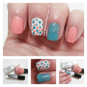 Full description and colors used on the blog http://www.hairsprayandhighheels.net/2013/03/coral-teal-polka-dot-manicure-mani.html