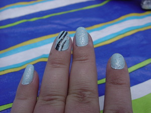revlon in waterfall  Kiss nail art in black  revlon in sparkle