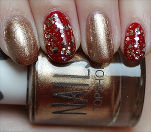 Used Topshop Glimmer, China Glaze Ruby Deer & Nicole by OPI Kissed At Midnight. See more swatches here: http://www.swatchandlearn.com/smorgasbord-sundays-nail-art-the-super-bowl-san-francisco-49ers-nails/