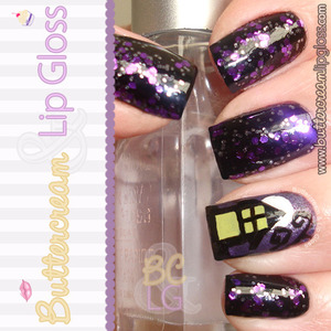 Haunted Halloween Nails using Orly Can't Be Tamed. Haunted House inspired by a mani found on pinterest. http://www.buttercreamandlipgloss.com/2012/10/gallery-halloween-haunted-manicure-i.html