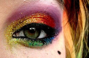 Rainbow glitter explosion ♥  Blogpost on this look w/ products used: http://alicesnowmakeup.blogspot.com/2011/10/look-of-day-rainbow-glitter-explosion.html