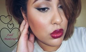Simple eyes and Raspberry lips. A Fall makeup tutorial!