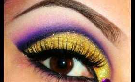 Gold Glitter & Purple Cut Crease