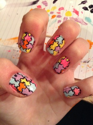 My version of jigsaw nails :D
