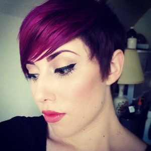 We used Scruples color line, and ombréd pink and purple all over my head. This is Demi-permanent hair color.