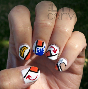 only fans of Arrested Development will understand these nails.  On the pointer is the banana for Bluth's Banana Stand, blue paint on the middle finger for Tobias's blue man group obsession, and Buster's hook is on the pinkie. http://www.thelittlecanvas.com/2013/05/arrested-development-nail-art.html