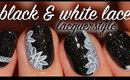 Holographic Black & White Floral Lace Nails | Lacquerstyle