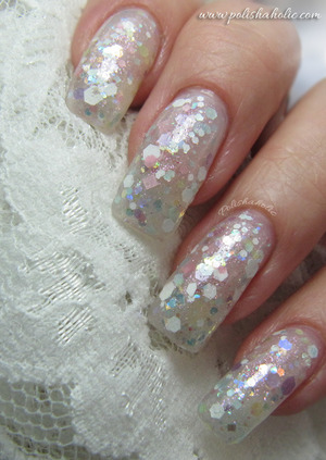 Two coats of Jindie Nails Baby Doll glitter polish