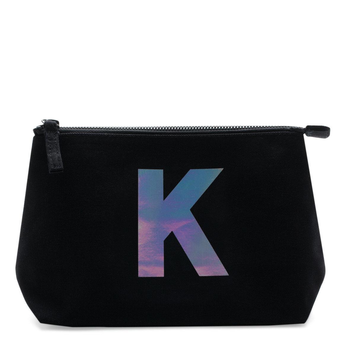 alphabet bags holographic foil initial makeup bag letter k beautylish