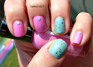 Sally Hansen Xtreme Wear Bubblegum Pink, a franken w/  Revlon Whimsical over it and some nail art blue hexagonal glitter.