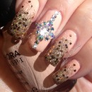 Pinky Nude with a Gold Glitter Fade