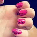 hot pink leopard nails