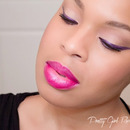 Purple Winged Liner and Bold Pink Lip