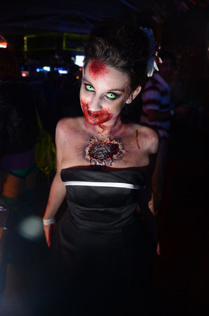 This was a fun makeup I did for a local Zombie Pub Crawl... you can find more pictures here: https://www.facebook.com/HillaryHuntMUA
