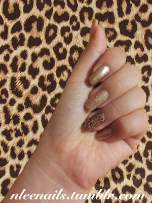 Basic gold color & a leopard design nail stickerrr!  Follow me on Twitter: @nleenails Follow me on Tumblr: nleenails.tumblr.com