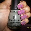 Pink and Gray dot mani