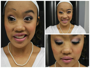 "Every now and again, I have some time to actually sit down and do my makeup. This is what I came up with for my university's ""White Out"" homecoming basketball game.