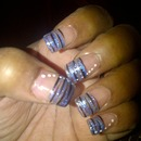 Blue and Black clear nail design