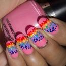 Rainbow Dots Nail Art