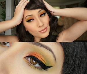 Used goldilux by sugarpill all over my lid then on top of that I blended the red, orange, and green from my sugarpill pro palette into the gold to neutralize the bright colors and make them perfect for fall!!! 🍁🍂🎃