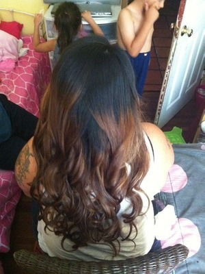 my friends long hair curled for graduation!!
