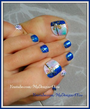 Beautiful Marble Toenail Art