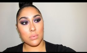 "MAC X 9 Purple Smokey Eyes. (Full Face ""how to"" Tutorial) (double/small eyelids & full brows)"