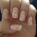 Peach roses nail art