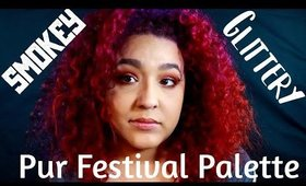 Pur Cosmetics Festival Palette Makeup tutorial Smokey eye and GLITTER!!