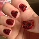 Red and Black Sparkly Stamped