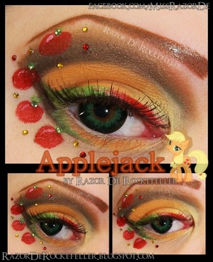 My new version of Applejack! I am def much happier with how this one came out! I used shadows from Lunatick Cosmetic Labs LLC and BH Cosmetics! I'm also wearing contacts from Uniqso!  http://razorderockefeller.blogspot.com/2013/03/my-little-pony-friendship-is-magic_28.html