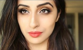 Golden Bronze Eyes with Matte Coral Lips-Affordable Drugstore Makeup