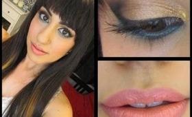 Gold Glitter & Teal Makeup