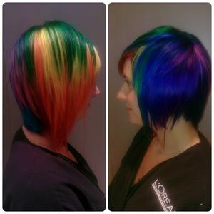 asymmetric cut and rainbow color for my client chloe