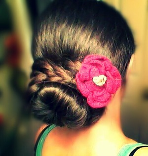 """I did a bun from """"the sock"""" and with what I had left I French braided around the bun"""