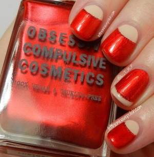 OCC Mein Herr and Lustgarten. For full deets: http://www.letthemhavepolish.com/2013/09/31dc2013-day-one-red-nails-vintage.html