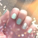 Mint green a gold glitter