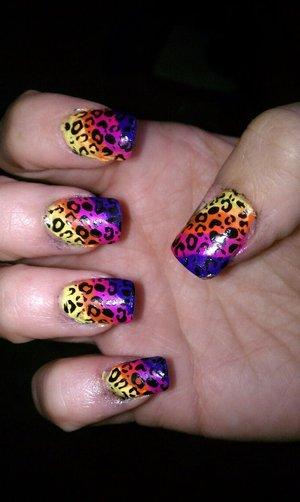 yellow orange pink and purple with cheetah print