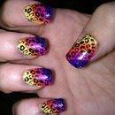 Neon Animal Print Nail Art