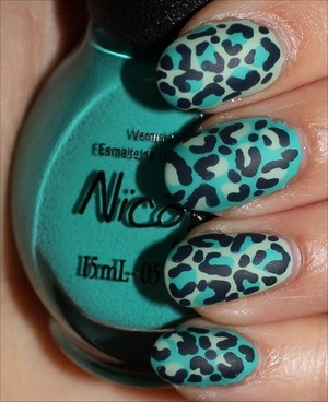 I used 3 Nicole by OPI shades: I Shop Mintage, Teal Me Something New & This Blue Is So You! I also used the Nicole by OPI Matte Top Coat. Click here to see more swatches: http://www.swatchandlearn.com/blog-news-my-leopard-nail-art-tutorial-on-promcanada-com/
